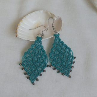 big blue macrame earrings. artisan. big handmade earrings