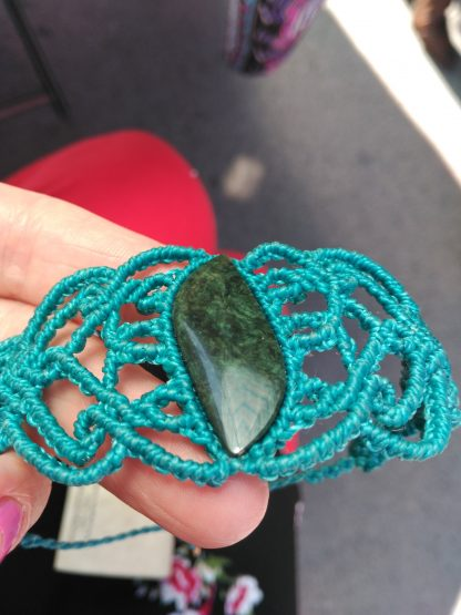 Bohemian Big MicroMacrame Turquoise Color beautiful Obsidian Stone Unique Bracelet