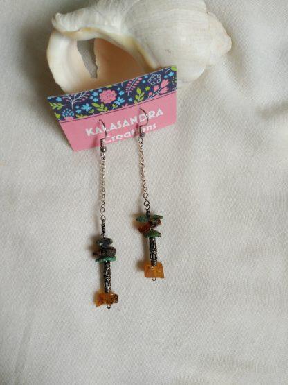Long amber turquoise earrings. gemstone earrings. Silver earrings. handmade earrings. Artisan earrings. Boho earrings