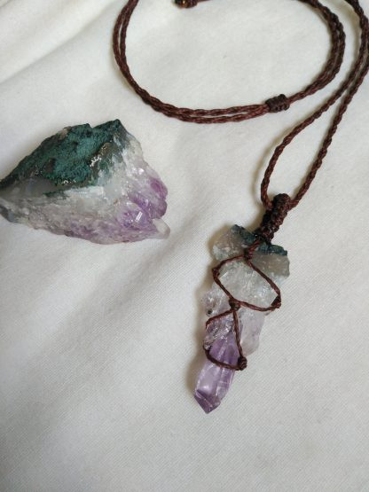 Beautiful raw amethyst handmade macrame pendant necklace