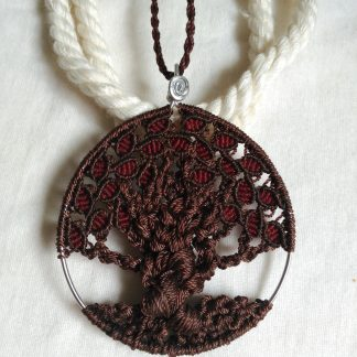tree of life handmade macrame pendant necklace