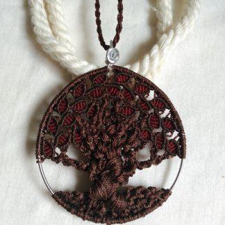 árbol de la vida hecho a mano macramé colgante collar