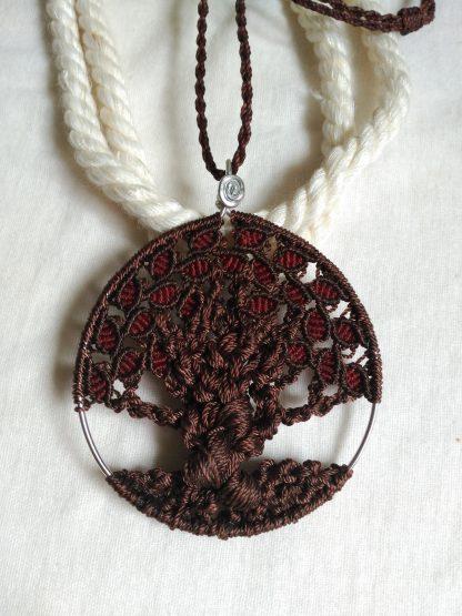 tree of life handmade macrame pendant necklace