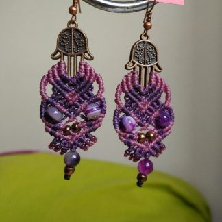 fatima's hands macrame earrings. Macrame earrings. Handmade earrings. Bohemian earrings. Artisan jewelry