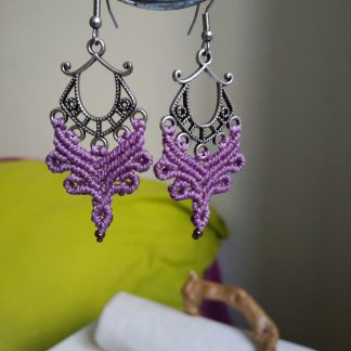 unique purple macrame earrings in antique silver tone finish. Boho earrings. celtic jewelry. Artisan earrings. Purple earrings