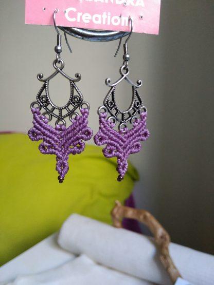 unique purple macrame earrings in antique silver tone finish. Boho earrings. celtic jewelry. Artisan earrings. Purple earrings