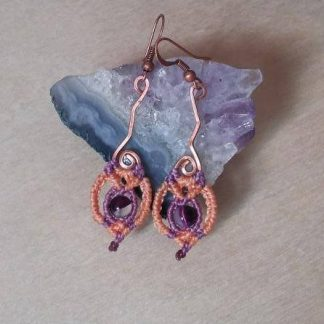 delicate amethyst macrame earrings. Handmade copper design. Amethyst earrings. Artisan earrings. Bohochick.