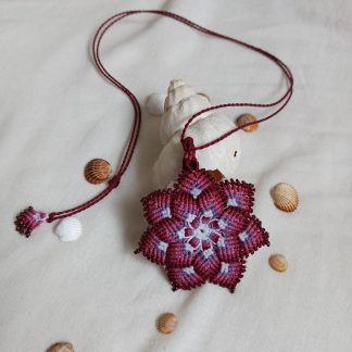 Beautiful Handmade Red macrame mandala necklace