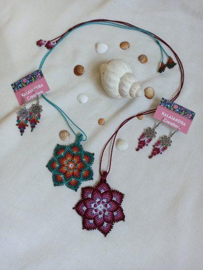 Mandala Macrame pendant. Mother earth mandala necklace. Chakra Energy Mandala pendant