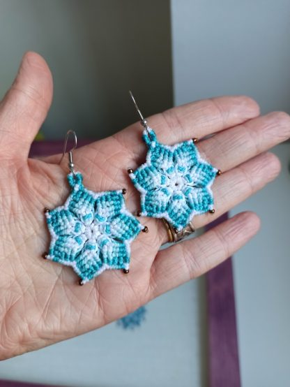 blue mandala earrings. macrame mandala. Handmade mandala earrings. artisan jewelry