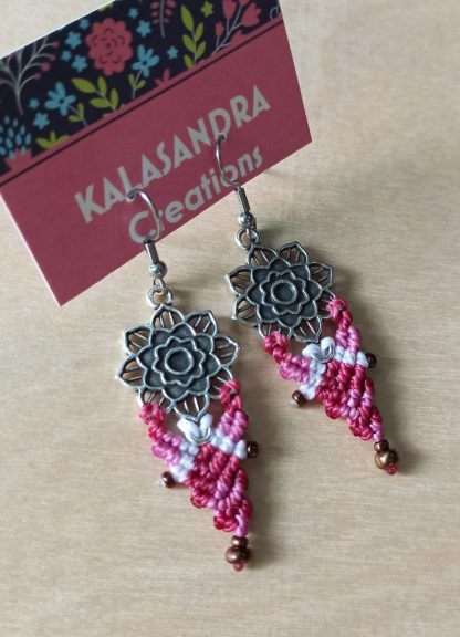 Handmade mandala macrame earrings. Artisan earrings. Unique earrings. Bohochick