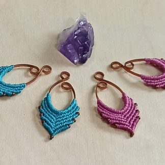 medium artisan macrame earrings. handmade earrings. artisan earrings. bohochick