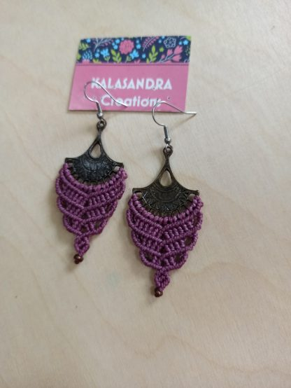purple big macrame earrings