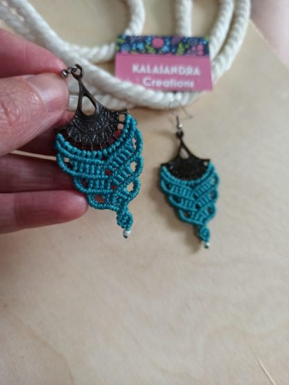 Blue big macrame earrings