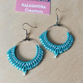 Big Blue Macrame Earrings
