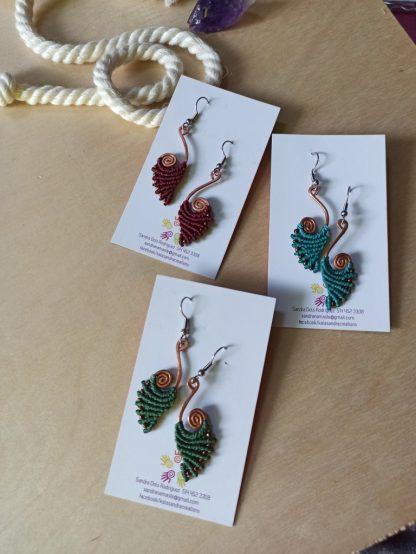 handmade macrame earrings in spiral copper design. Bohochick. Celtic jewelry. Boho jewelry
