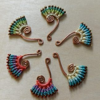 Handmade macrame earrings. Spiral designs. Handmade copper design. Bohoearrings. Gipsy style. Bohochick