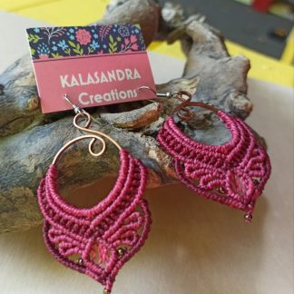 Unique artisan macrame earrings. handmade earrings. Bohemian earrings. One-of-a-kind earrings