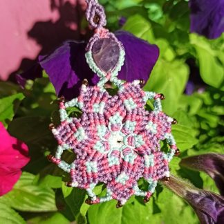 purple amethyst mandala necklace. Macrame necklace. Mandala necklace. Amethyst necklace. Gemstone. Artisan jewelry. Boho necklace. Bohemian jewelry