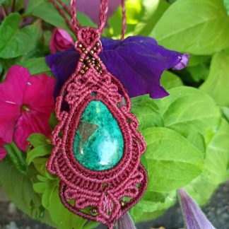 Unique chrysocolla macrame necklace. Boho necklace. Artisan necklace. One-of-a-kind necklace. Chrysocolla necklace. Gemstone jewelry