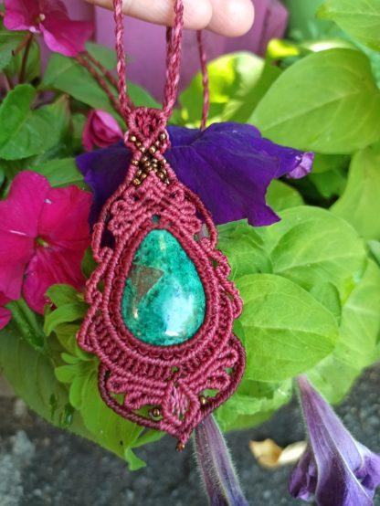 Unique chrysocolla macrame necklace. Boho necklace. Artisan necklace. One-of-a-kind necklace. Chrysocolla necklace. Gemstone jewelry