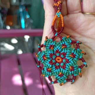amber mandala macrame necklace. amber necklace. handmade. One-of-a-kind. Artisan necklace. Bohemian jewelry. Spiritual jewelry