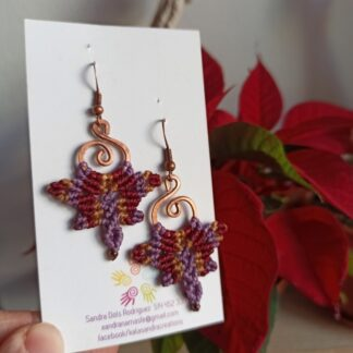 Boho gypsy butterfly autumn colors unique macrame earrings and copper design