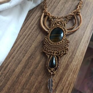 tiger eye macrame necklace. artisan jewelry. handmade.