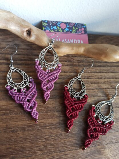 Boho macrame earrings. Handmade. Kalasandra earrings. Artisan jewelry. Boho earrings. Bohemian.