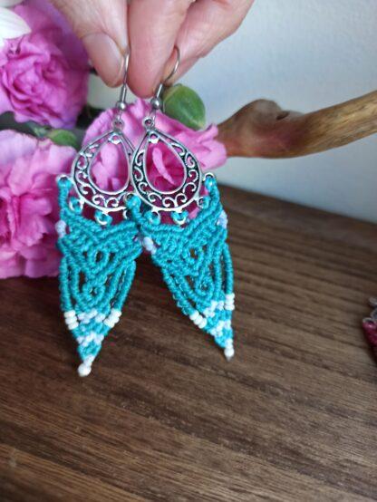 Beautiful blue macrame earrings. Handmade. Kalasandra earrings. Artisan jewelry. Boho earrings. Celtic.