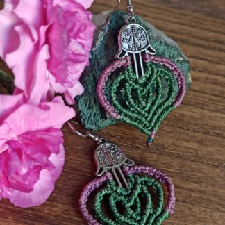 Fatima's Hands Macrame earrings. Bohoearrings. macrame earrings. Artisan jewelry. Made with Love