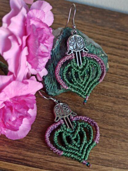 Fatima's Hands Macrame earrings. Bohoearrings. macrame earrings. Artisan jewelry. Made with Love