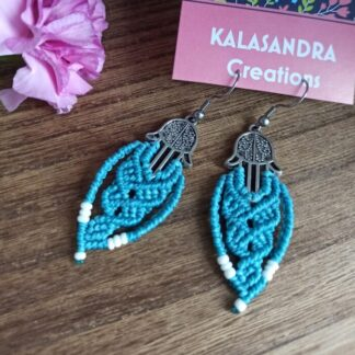 fatimas hands blue earrings. macrame earrings. Blue earrings. kalasandra earrings. handmade, artisan jewelry. Boho earrings. Bohemian