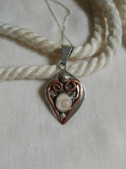 shiva shell handmade silver pendant