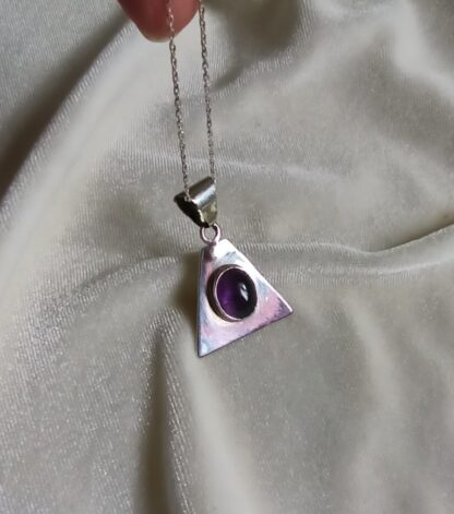Amethyst silver pendant handmade- DEEP CALL
