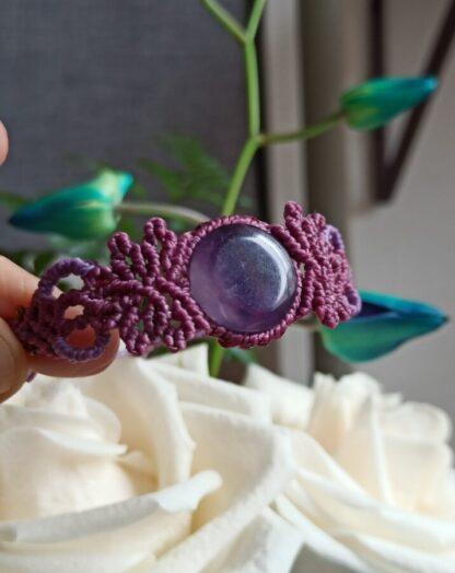 Amethyst Macrame Bracelet in Rose-Purple color. Adjustable macrame bracelet. Amethyst bracelet. Macrame Bracelet. Handmade. Artisan. Unique